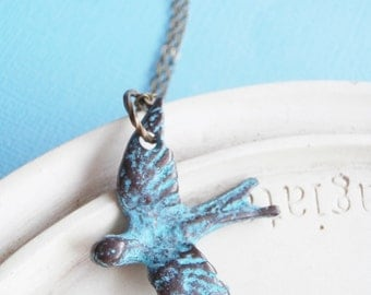 Bird Necklace - Le Petit Oiseau - Verdigris Necklace