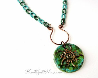 Macrame Necklace with Sun Pendant - Rebirth of the Sun Macrame Necklace - Green and Blue Necklace