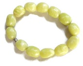 Vintage Lime Green Fluorite Stones Beaded Stretch Bracelet