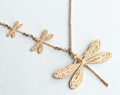 White Dragonfly Necklace - Dragonfly Jewelry, Nature Jewelry, Garden Necklace