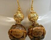 Vintage 1970s Chinese AA grade Carved Shou Tigereye Bead Earrings, Bali 24K Gold Handmade Vermeil Beads, Bali 24K handmade gold ear wires