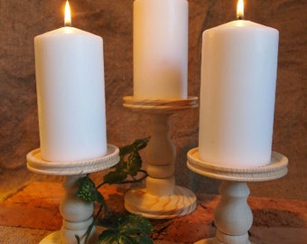 Unfinished Pillar Candle Holders - Set of 3