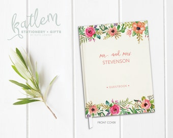 Custom Wedding Guest Book - Wedding Guest Book - Watercolor Wedding Book - Guestbook Wedding -  Colorful Watercolor Flowers