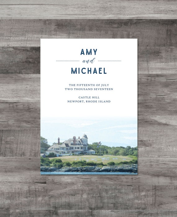 Rhode Island Wedding Invitation Printed: Newport Rhode Island Wedding Invitation Castle Hill Wedding