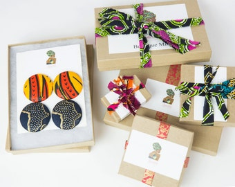 African fabric button earrings gift set