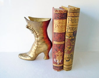 Vintage Brass Victorian Boot Figurine Statue Bookend | Home Decor