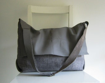 XL Leather and Canvas Slouchy Messenger in Grey