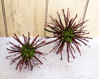 Set of 2 green moss balls with birch twigs.  An interesting woodland accent ornament.
