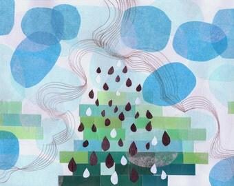 Pantone Blue Rain, modern wall decor, modern abstract art, abstract wall art, abstract landscape print, art print, rain, ocean, blue, modern