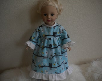Flannel Nightgown With Owls and Butterflies For American Girl Doll or Most 18 inch doll