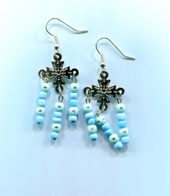 blue bead cross earrings chandelier earrings blue drops blue earrings cross charms long dangles beaded handmade jewelry  jewls844