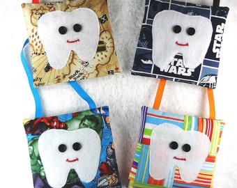 Boy tooth fairy pillows with tooth pocket, felt tooth applique, tooth fairy pouch, tooth fairy bag, boys tooth fairy, boys party favor gifts