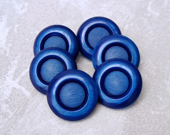 Cobalt Blue Buttons - CHOOSE 27mm or 34mm - Medium Blue Retro Mod Plastic Shank Buttons - 6 VTG NOS Chunky Cobalt Blue Coat Buttons PL561