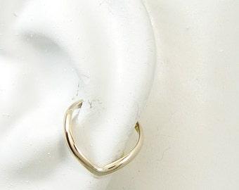 Conch Piercing, Conch Pierced Gauge Earring, Hex Piercing, Gold Conch, Guage Piercing, Hoop  Cartilage Earring Chevron E2HRvGFPOSTR/L ear