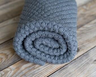 Merino Wool Blanket / Asphalt Grey Baby Throw/ Minimal Toddler Bedding / Baby Pram Cover / Baby Boy Quilt Grey / Handmade Fine Wool Swaddle