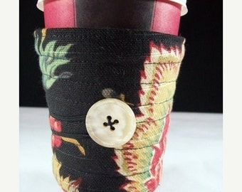 Winter Clearance cup sleeve coffee cup cozy, reusable, fabric coffee cup cozy: Black Jacobean Floral cup sleeve