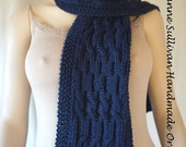 Custom Order for Jane, Navy Blue Cabled Scarf