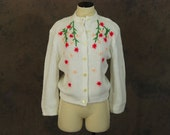 vintage 60s Embroidered Cardigan - 1960s Floral Embroidered Sweater SZ L