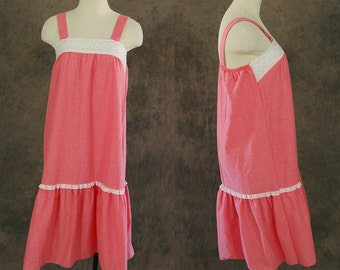 Clearance SALE vintage 70s Tent Dress - 1970s Boho Red Cotton Sun Dress Sz M