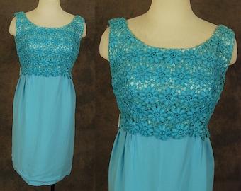 vintage 60s Party Dress - 1960s Aqua Blue Lace Top Wiggle Dress Formal Party Dress Sz S