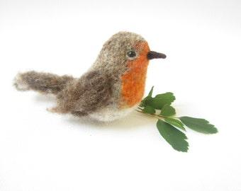 Robin bird,Felted Bird,Needle Felted Robin,
