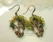 Tree of Life Wire Beaded Earrings, Peridot, Emeralds, Crystals in Copper, Custom Handmade Wire Jewelry, Perfectly Twisted Jewelry, mc