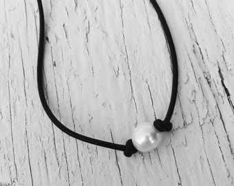 Black Leather Single White Pearl Necklace Adjustable