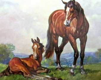 WESTERN HORSES II Lithograph Print Artist Brown 1966 Vintage Sheffield Fine Prints Picture