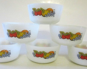 Anchor Hocking Fire King Dessert White Milk glass custard cup Ramekin dish bowl Fruit Natures Bounty Set of 6 Stackable