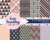 80% OFF SALE Printable Paper Patterns Instant Download Commercial Use Digital Paper Pack with Doodles Bunting Quatrefoil