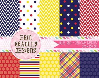 60% OFF SALE Blue Yellow and Red Commercial Use Digital Paper Set