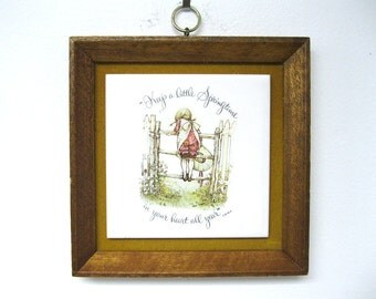 Vintage 1973 HOLLY HOBBIE Wood Framed Ceramic Tile Wall Hanging - Springtime...
