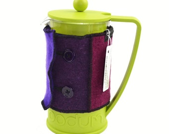 Bodum Cover in Upcycled Wool - French Press Coffee Cozy - Purple Aubergine Burgundy Wine