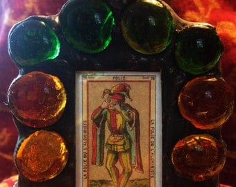 TAROT - The Fool - Gothic Stained Glass   Small Votive Candle Holder