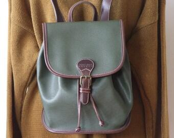 Perry Ellis America backpack, vintage backpack, woodland backpack, forest green and brown vintage backpack