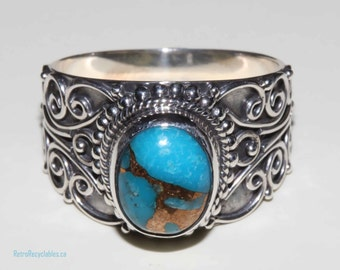 Mojave turquoise artisan crafted sterling silver wide band ring size 7 shipping included within Canada and U.s.A