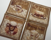 Java Fabric Coaster Set - Reversible - all cotton, large size