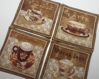 Fabric Coasters, Java print - Reversible - all cotton, large size coasters