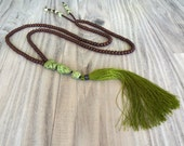 Long Tassel Necklace, Olive Green, Dark Wood, Beaded Necklace, Mala Style Necklace, Handmade
