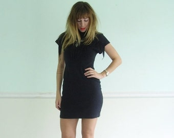extra 30% off SALE ... Black Fringe Embellished Faded Mini Bodycon Dress - Vintage 80s - XS S