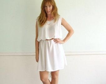 30% off ... Embroidered Lattice Work Cut Out Bohemian White Semi Sheer Mini Dress - Vintage 90s - MEDIUM M