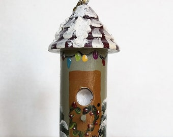 Birdhouse Christmas Ornament , with Snow , and Snowman
