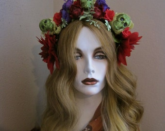 My Garden: Day of the Dead Headpiece Skulls with Flowers Mexican Floral Red Purple Lime Green Glitter Ode to Frida Kahlo Costume Halloween