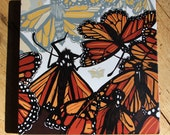 "Monarch Butterfly affordable art print on wood, 6"" x 6"" square ready to hang"
