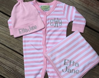 3 piece striped monogrammed baby girl gift set. Baby Girl Gift Set. 0-6 month size.