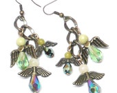 six protection guardian angels antique brass chain dangle earrings