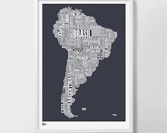 South America Type Map Screen Print, South America Wall Art, South America Word Map, South America Wall Poster, South America Map, America
