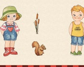 camping Paper Dolls | backpacking | off the grid | On the Road | 4 paper dolls | happy campers | c5151 Penny Rose + Sibling Arts Studio