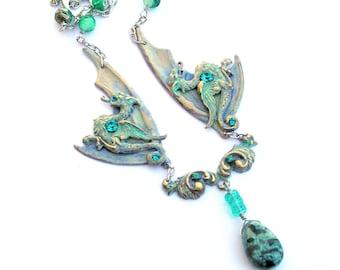 Winter Dragons Necklace, Gemstone Pendant