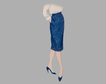 1960 slim skirt pattern Vogue 5108 Easy to make, 2, 4 and 6 piece designs, Waistbands, Left side zipper closure, 2 patterns, Waist 26 or 28